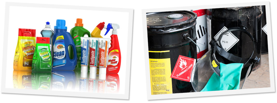 Solvent & Chemical Printed Labels On Retail Products