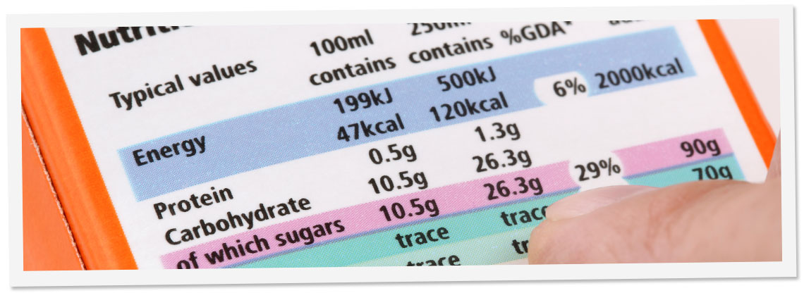 Image Top - Nutritional Label Example
